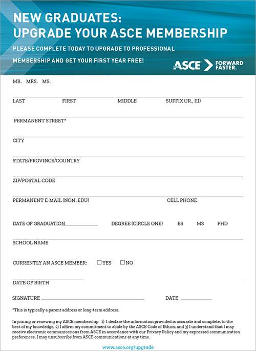 ASCE Graduating Student Upgrade postcard